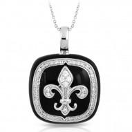 Fleur De Lis Collection In Sterling Silver Blk/En//White /Cz Pendant