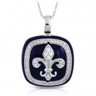 Fleur De Lis Collection In Sterling Silver Blue/En/White /Cz Pendant