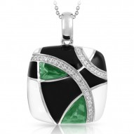 Tango Collection In Sterling Silver /Blk& White /En./Syn.Emerald Pendant