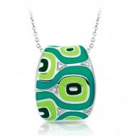 Moda Collection In Sterling Silver Green/En/White /Cz Pendant