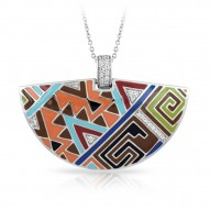 Sedona Collection In Sterling Silver Org_Brw/En/White /Cz Pendant