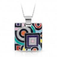 Geometrica Collection In Sterling Silver Multi/En/White /Cz Pendant