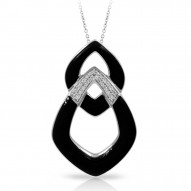 Amazon Collection In Sterling Silver Blk/En/White /Cz Pendant