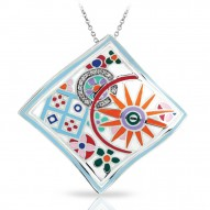Pashmina Collection In Sterling Silver Ena.Mult/Cz.White Pendant