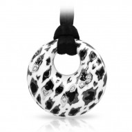 Leopard Collection In Sterling Silver White /Blk_White /Cz Pendant