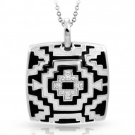 Aztec Collection In Sterling Silver Blk/White /En_White /Cz Pendant