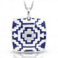 Aztec Collection In Sterling Silver Blue/White En_White /Cz Pendant