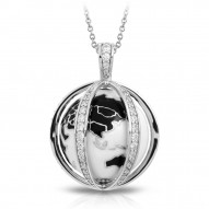 My World Collection In Sterling Silver Blk/White _White /Cz Pendant