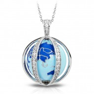My World Collection In Sterling Silver Blue/White /En_White /Cz Pendant