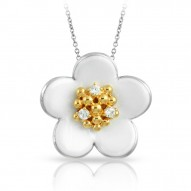 Daisy Collection In Chain Sterling Silver Rosegold_White En Pendant