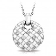 Harlequin Collection In Sterling Silver Whiteenamel Pendant