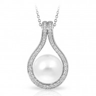 Claire Collection In Sterling Silver Wht/Pearl/Wht/Cz Pendant