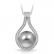 Claire Collection In Sterling Silver Grey/Pearl/Wht/Cz Pendant