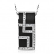 Piazza Collection In Sterling Silver Blkrub/Cz.White Pendant