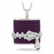 Roxie Collection In Sterling Silver Plum/Ru/White /Cz Pendant