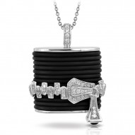 Roxie Collection In Sterling Silver Blk/Ru/White /Cz Pendant
