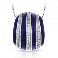Intermezzo Collection In Sterling Silver Blue/Ru/White /Cz Pendant