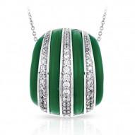Intermezzo Collection In Sterling Silver Emerald/Ru/White /Cz Pendant