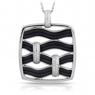 Riviera Collection In Sterling Silver Blk/En/White /Cz Pendant