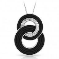 Unity Collection In Sterling Silver Blk/Ru/White /Cz Pendant
