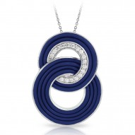 Unity Collection In Sterling Silver Blue/Ru/White /Cz Pendant