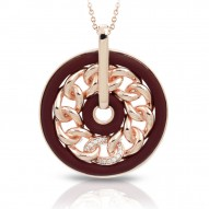 Liaison Collection In Sterling Silver Ru.Brn/Rosegold/Cz.White Pendant