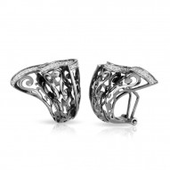 Antoinette Collection In Sterling Silver Cz.White Earring