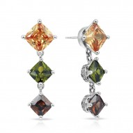 Destiny Collection In Sterling Silver Cz.Cham Cz.Green/Cz.Coffee Earring