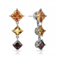 Destiny Collection In Sterling Silver Cz.Cham Cz.Coffee/Cz.Yellow Earring