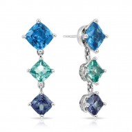 Destiny Collection In Ss Cz.Blue/Cz.Green Earring