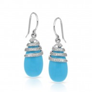 Eden Collection In Sterling Silver /Syn. Turquoise/Cz.White Earring