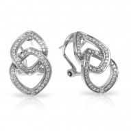 Duet Collection In Sterling Silver White/Cz Earring
