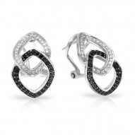 Duet Collection In Sterling Silver Whtblk/Cz Earring