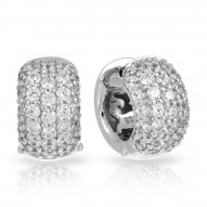 Pav_ Collection In Large Sterling Silver White/Cz Earring