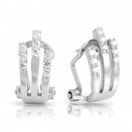 Fontaine Collection In Sterling Silver Cz.White Earring