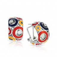Nova Collection In Sterling Silver Summer Org/Yel/Blue/Red/Cz Earring