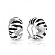 Tigris Collection In Sterling Silver Black/Whiteen/Cz Earring