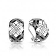 Tartan Collection In Sterling Silver White /Gray/Blken/Cz Earring
