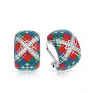 Tartan Collection In Sterling Silver Red/Blue/Grnten/Cz Earring