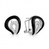 Vapeur Collection In Sterling Silver Blacken/Cz.White Earring