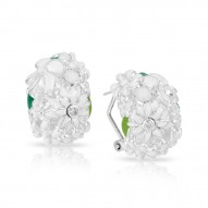 Jardin Collection In Sterling Silver White/En/ White/Cz Earring