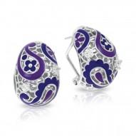 Koyari Collection In Sterling Silver Purple &Blue/En/White /Cz Earring