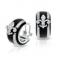 Fleur De Lis Collection In Sterling Silver Blk/En//White /Cz Earring