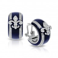 Fleur De Lis Collection In Sterling Silver Blue/En/White /Cz Earring