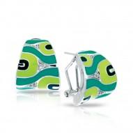 Moda Collection In Sterling Silver Green/En/White /Cz Earring