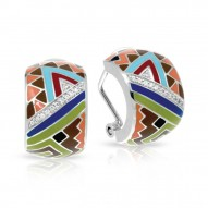 Sedona Collection In Sterling Silver Org_Brw/En/White /Cz Earring