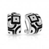 Geometrica Collection In Sterling Silver Blk_White /En/White /Cz Earring