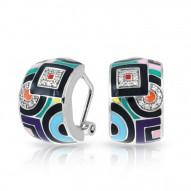Geometrica Collection In Sterling Silver Multi/En/White /Cz Earring