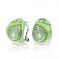 Zen Collection In Sterling Silver / Applegrn/En/White /Cz Earring