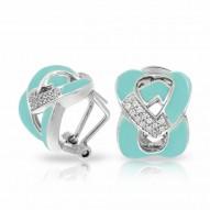 Amazon Collection In Sterling Silver Aqua/En/White /Cz Earring